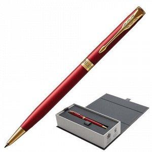"""Ручка шариковая PARKER """"Sonnet Core Intense Red Lacquer GT Slim"""" тонкая, корпус красный глянцевый лак, позолоченные детали, черная, 1931477"""