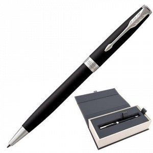 """Ручка шариковая PARKER """"Sonnet Core Matt Black CT"""", корпус черный матовый лак, палладиевые детали, черная, 1931524"""