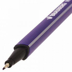 """Ручка капиллярная (линер) BRAUBERG """"Aero"""", ФИОЛЕТОВАЯ, трехгранная, металлический наконечник, линия письма 0,4 мм, 142255"""