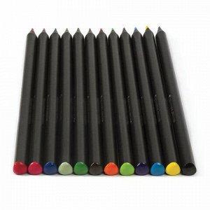 """Карандаши цветные BRAUBERG """"Black Jack"""", 12 цв., трехгранные, черное дерево, заточенные, картонная упаковка, 180834"""