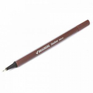 """Ручка капиллярная (линер) BRAUBERG """"Aero"""", КОРИЧНЕВАЯ, трехгранная, металлический наконечник, линия письма 0,4 мм, 142257"""