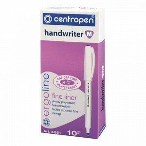 """Ручка капиллярная (линер) КРАСНАЯ CENTROPEN """"Handwriter"""", трехгранная, линия письма 0,5 мм, 4651, 2 4651 0104"""