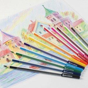 """Карандаши цветные BRAUBERG """"Бабочки"""", набор 12 цветов, трехгранные, корпус с полосками, 181285"""