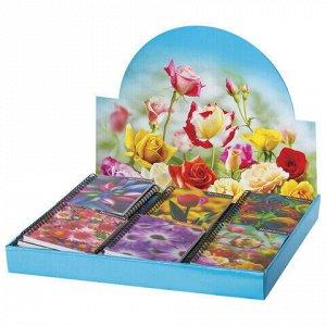 """Блокнот МАЛЫЙ ФОРМАТ (93х135 мм) А6, 50 л., гребень, пластиковая 3D-обложка, без линовки, BRAUBERG, """"Цветы"""", ассорти, 128091"""