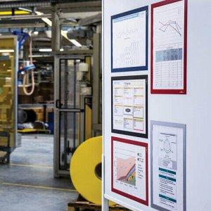 Рамки настенные для рекламы DURAFRAME, А4, КОМПЛЕКТ 2 шт., магнитные, самоклеящиеся, красные, DURABLE (Германия), 4872-03