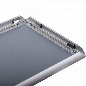 Рамка настенная для рекламы, А4 (210х297 мм), алюминиевый профиль, прижимные стороны, BRAUBERG, 232203