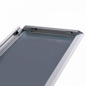 Рамка настенная для рекламы БОЛЬШОГО ФОРМАТА (420х594 мм), алюминиевая, прижимные стороны, BRAUBERG, 232205