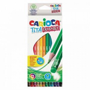 """Карандаши цветные стираемые с резинкой CARIOCA """"Erasable"""", 12 цветов, пластик, шестигранные, заточенные, 42897"""