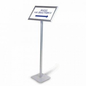 Рамка на стойке для рекламы БОЛЬШОГО ФОРМАТА (297х420 мм), А3, алюминиевая, прижимные стороны, BRAUBERG, 232209