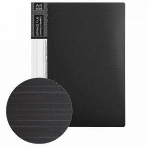 """Папка с металлическим скоросшивателем и внутренним карманом BRAUBERG """"Contract"""", черная, до 100 л., 0,7 мм, бизнес-класс, 221781"""