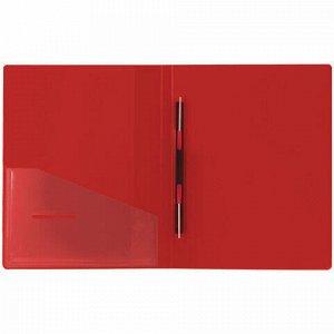 """Папка с металлическим скоросшивателем и внутренним карманом BRAUBERG """"Contract"""", красная, до 100 л., 0,7 мм, бизнес-класс, 221783"""