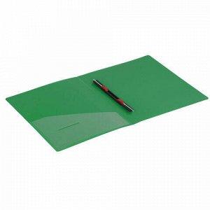 """Папка с металлическим скоросшивателем и внутренним карманом BRAUBERG """"Contract"""", зеленая, до 100 л., 0,7 мм, бизнес-класс, 221784"""