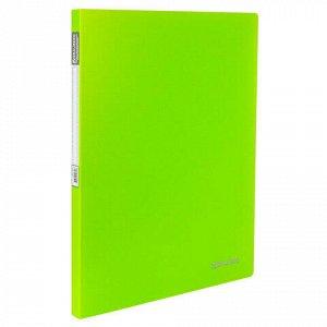 """Папка с металлическим скоросшивателем и внутренним карманом BRAUBERG """"Neon"""", 16 мм, зеленая, до 100 листов, 0,7 мм, 227464"""