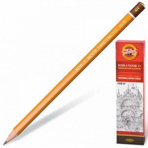 Карандаш чернографитный KOH-I-NOOR 1500, 1 шт., 4H, без резинки, корпус желтый, заточенный, 150004H01170