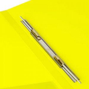 """Папка с металлическим скоросшивателем и внутренним карманом BRAUBERG """"Neon"""", 16 мм, желтая, до 100 листов, 0,7 мм, 227465"""