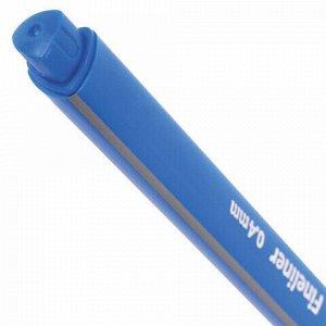 """Ручка капиллярная (линер) BRAUBERG """"Aero"""", ГОЛУБАЯ, трехгранная, металлический наконечник, линия письма 0,4 мм, 142259"""