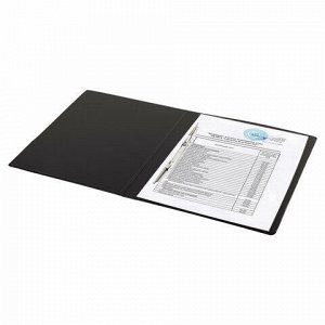 Папка с металлическим пружинным скоросшивателем BRAUBERG, картон/ПВХ, 35 мм, черная, до 290 листов, 228337