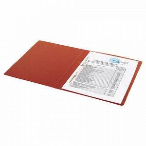 Папка с металлическим пружинным скоросшивателем BRAUBERG, картон/ПВХ, 35 мм, красная, до 290 листов, 228338