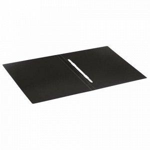 """Папка с пластиковым скоросшивателем BRAUBERG """"Office"""", черная, до 100 листов, 0,5 мм, 222645"""