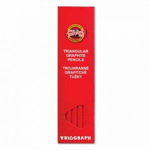 """Карандаш чернографитный KOH-I-NOOR, 1 шт., """"Triograph"""", B, трехгранный, без резинки, корпус красный, заточенный, 1802001001KSRU"""