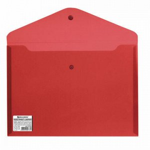 Папка-конверт с кнопкой BRAUBERG, А4, до 100 листов, непрозрачная, красная, СВЕРХПРОЧНАЯ 0,2 мм, 221364