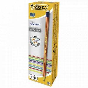 """Карандаш чернографитный BIC, 1 шт., """"Evolution"""", HB, с резинкой, пластиковый, корпус ассорти, заточенный, 8960342"""