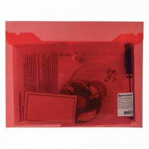 Папка-конверт с кнопкой МАЛОГО ФОРМАТА (240х190 мм), А5, прозрачная, красная, 0,18 мм, BRAUBERG, 224026