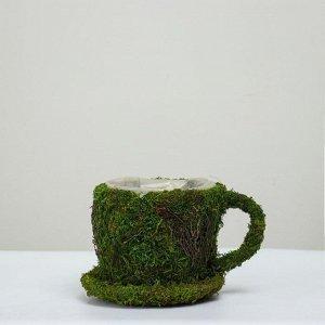 Корзина плетёная с натуральным декором, зелёная