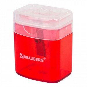 """Точилка BRAUBERG """"OfficeBox"""", с контейнером и крышкой, прямоугольная, в упаковке с подвесом, ассорти, 222494"""
