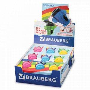 """Точилка BRAUBERG """"Jet"""", с контейнером, для чернографитных/цветных карандашей, в картонном дисплее, ассорти, 223591"""