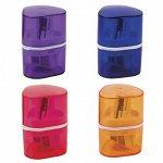 """Точилка BRAUBERG """"Case"""", 3 отверстия для чернографитных и цветных карандашей (в том числе утолщенных), с контейнером, ассорти, 226943"""