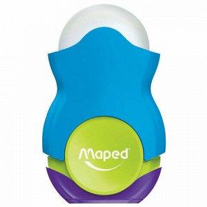 """Точилка MAPED """"Loopy"""", со стирательной резинкой, с контейнером, корпус цветной ассорти, 049121"""