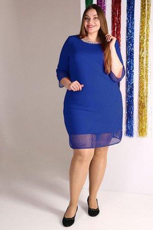 Синий Примечание: замеры длин соответствуют размеру 56. Длина платья: 102 см. Длина рукава: 48 см. Подкладка: нет. Застежка: нет. Карманы: нет. Декор: стразы, бусины. Состав: полиэстер 100%.