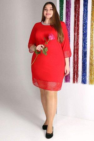 Красный Примечание: замеры длин соответствуют размеру 56. Длина платья: 102 см. Длина рукава: 48 см. Подкладка: нет. Застежка: нет. Карманы: нет. Декор: стразы, бусины. Состав: полиэстер 100%.