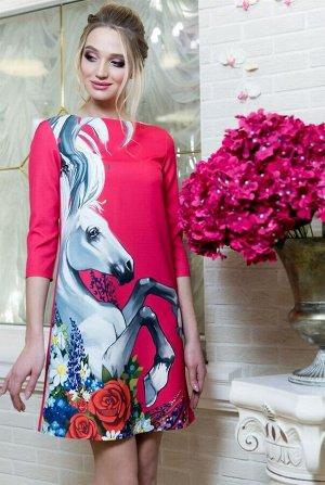 Платье Материал: плотная неэластичная ткань INTY.. Состав:55% полиэстер, 35% вискоза,10%спандекс. Цвет: как на фото, размеры 42-56. Длина от талии до низа юбки 54 см. Длина рукава: длинный, матери