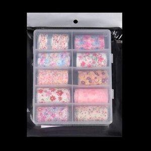 Набор переводной фольги для дизайна ногтей «FLOWERS», 4 ? 40 см, 10 шт