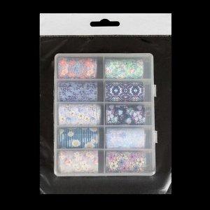 Набор переводной фольги для дизайна ногтей «FLORAL PRINT», 4 ? 40 см, 10 шт