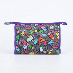 Косметичка треугольная, отдел на молнии, с подкладом, цвет разноцветный