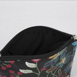 Косметичка простая, отдел на молнии, цвет чёрный/разноцветный