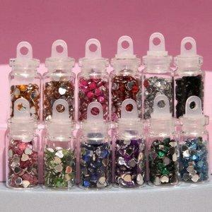 Стразы для декора «Сердечки», 12 бутылочек