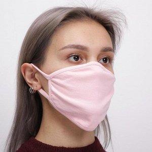 Маска для лица многоразовая из 100 % хлопка, 2-х слойная, розовая, 190*130 мм