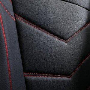 Чехлы (накидки) CARFORT Wave 3, экокожа, комплект, черный с красной прошивкой