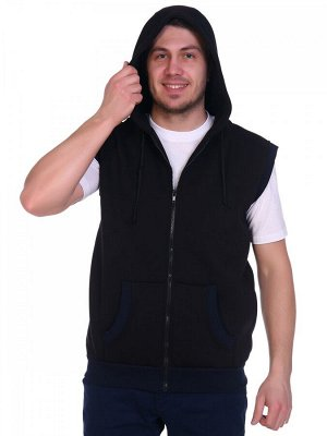 Жилет из теплого футера с капюшоном и двумя накладными карманами,. цвета  меланж, черный