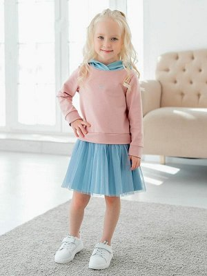 """Платье Дизайнерское платье из футера пудрового цвета для девочки в стиле """"спорт-шик"""". Модель из футера, имитация костюма - джемпера с капюшоном и юбки. Спереди - небольшой принт. Юбка двойная, верхний"""