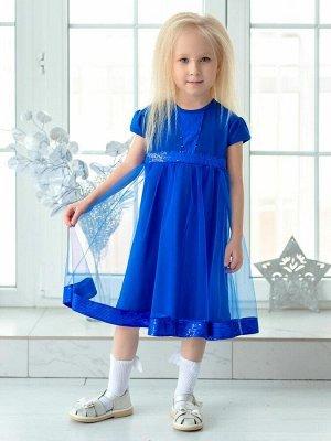 Платье Нарядное платье из кулирки василькового цвета для девочкииз кулирного полотна с двойной юбкой. Верхняя юбка из легкой сетки. По центру полочки, по поясу и низу верхней юбки- отделка из пайеток.