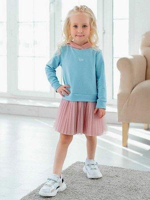 """Платье Дизайнерское платье из футера голубого цвета для девочки в стиле """"спорт-шик"""". Модель из футера, имитация костюма - джемпера с капюшоном и юбки. Спереди - небольшой принт. Юбка двойная, верхний"""