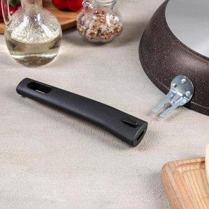 Сковорода, 26*6 см, съёмная ручка, антипригарное покрытие, цвет кофейный мрамор