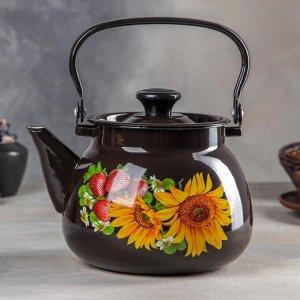 Чайник сферический, 3,5 л, цвет коричневый, деколь МИКС