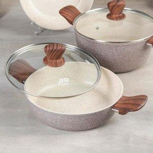 Набор посуды из литого алюминия, 4 предмета: кастрюля, d=24, сотейник, d=24, ковш, d=18 с крышкой, сковорода, d=24, индукция