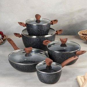 Набор посуды из литого алюминия, 5 предметов: кастрюля 3 шт, d=20/24/28, ковш, d=16, сковорода-WOK с крышкой, d=28 см, индукция